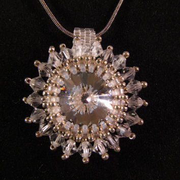Crystal Necklace Clear Rivoli Crystal with peyote stitch and crystals