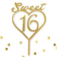 Sweet 16 Script Gold Glitter Acrylic Heart Birthday Cake Topper Party Decoration