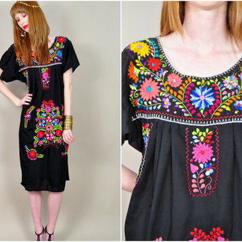VINTAGE black cotton bold colors Mexican embroidered boho hippie festival ethnic beach midi dress