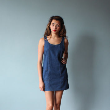 denim tank dress/ dark jean pinafore/ 1990s/ xs - small
