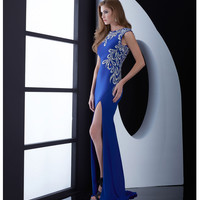 Royal Blue Intricatly Beaded Open Back Dress