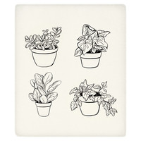 Desk Plants Fleece Throw