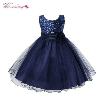 2018 Baby Girl Princess Dresses Children Girls Dress Sequined Flower Waistband Party Performance Long Dress 3-10Y L07