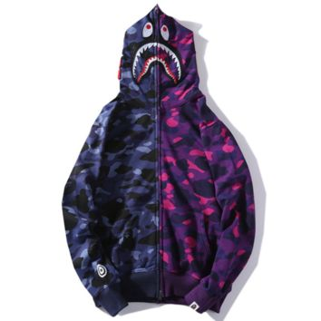 Bape Aape New fashion shark camouflage hooded long sleeve sweater coat