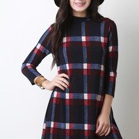Plaid Mock Neck Shift Dress