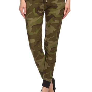Women Army Printed Banded Waist Drawstring Military Woven Joggers Comfy Pant