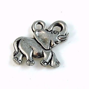 Baby Elephant Silver Pewter Charm -1