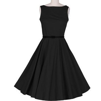 Black Vintage Pleated Sleeveless Midi Dress