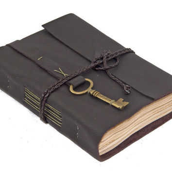 Dark Brown Leather Journal with Tea Stained Paper and Key Charm Bookmark