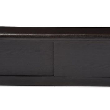 Baxton Studio Clevedon Modern and Contemporary Dark Brown Wood Entryway Storage Cushioned Bench Shoe Rack Cabinet Organizer Set of 1