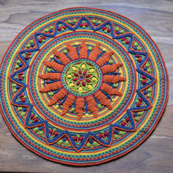 Mandala Crochet Rug - round meditation mandala with sun - table decoration, gift orange and yellow