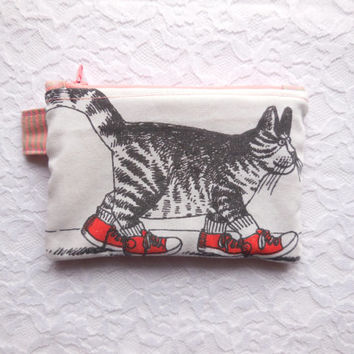 Cat Coin Purse - Pink Peach Striped Wallet - Small Zipper Pouch - Women's Striped Wallet - Cat Wallet - Teen Girl