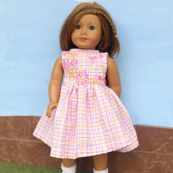 18 Inch Doll Clothes, Pink Doll Dress, Pink Plaid Doll Dress with Flowers and Bows, Summer Doll Clothes, Fits American Girl Dolls, Upcycled