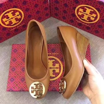 TB Tory Burch Women Fashion Leather Casual Shoes Flat Sandal Slipper Heels Brown