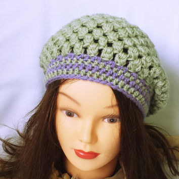 Hand crochet beanie, feminine hat, slouch fit hat, 1930's style hat, custom colour hat, green and purple hat, modern crochet hat, fitted hat