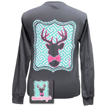 Girlie Girl Originals Collection Preppy Deer Country Bright Long Sleeves T Shirt