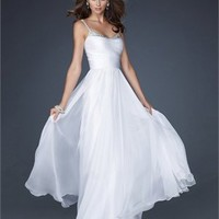Chiffon A-line Spaghetti Straps Scoop Neckline with Beadings Floor Length Prom Dress PD2158 Dresses UK