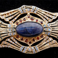 Rare Antique 9K Gold Brooch Sapphire Garnet Topaz Lapis Gemstone Art Deco Pin