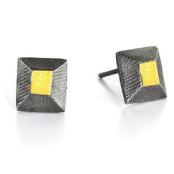 FACET Earrings, Sterling Silver, 24K Yellow Gold keum-boo one-of-a-kind earrings, Artistic Jewelry, Contemporary Jewelry