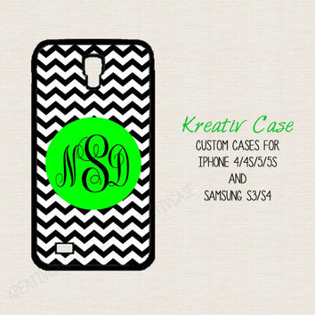 Samsung Galaxy S3, Samsung S4 case, Chevron - iPhone 5s case, phone cover, Personalized iPhone 4 case, Monogrammed neon green - K099