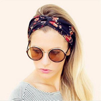 PEAPGC3 Women Vintage Headband Floral Wide Stretch Hair Band Yoga Elastic Turban Floral Twisted Knotted Headband Hair Accessories