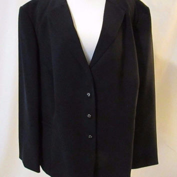 Tahari Arthur S Levine B Women's Blazer 24W Navy Single Breasted 4 Button Lined