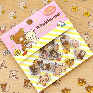 80pcs/lot DIY Cute Kawaii Transparent PVC Stickers Rilakkuma Sticker Pack For Home Decoration Photo Album Student 3450