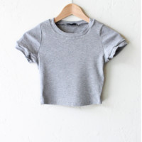 Ribbed Knit Crop Top - Heather Grey