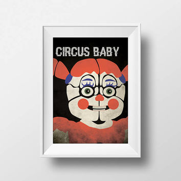 Five Nights at Freddy's Freddy Sister Location Circus Baby Inspired Printable Wall Art
