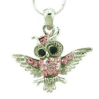 Pink Owl Charm Pendant Necklace