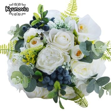 Kyunovia Green Alternative Wedding Centerpiece Toss Bouquet Rose Bridal Flower with Berries Mountain Meadow Wedding Bouquet FE48