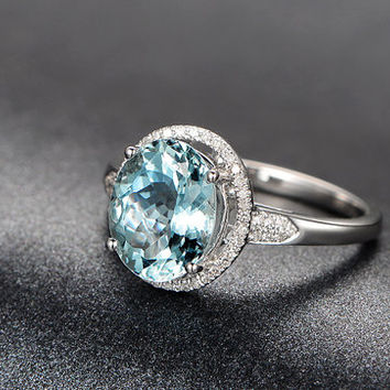 2.13ctw Oval Aquamarine Engagement ring,VS Diamond wedding band,14K Gold,Gemstone Promise Ring,Bridal Ring,IF Blue Aquamarine,Fashion Pave