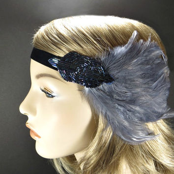 1920s Headpiece Fascinator, Great Gatsby Headband, Art Deco Flapper Hair Accessories, Gray Feather with Blue Purple Beaded Headband