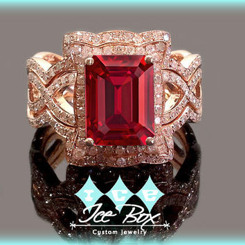 Cultured Ruby Engagement Ring 8 x 10mm 3.5ct Cultured Ruby in a 14k Rose Gold Diamond Halo Setting with two matching bands