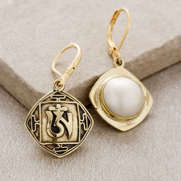 Tibetan Om Pearl Earrings