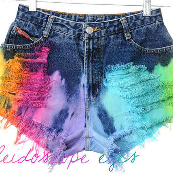 Vintage Bongo High Waist RAINBOW OMBRE Dyed Denim Cut Off Shorts S