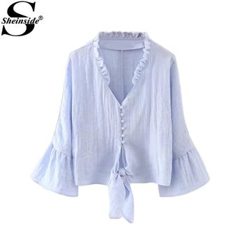 Sheinside Ruffle Tunic Blouses Women Blue Bell Sleeve Shirt Frill Trim Cute Knot Front Tops New Vintage Casual Button Up Blouse