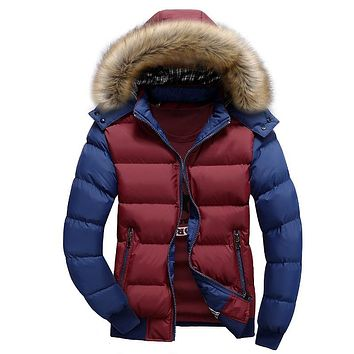 Men's Fashion Premium Casual Cotton Warm Hooded Coat Contrast Color Men Winter Jacket Vest Manteau Thickened Padded Coat