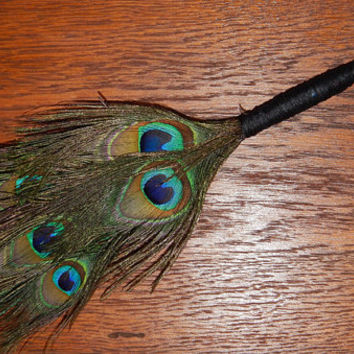 Feather Besom Broom or Smudge Wand - Peacock Feathers with Genuine Chrysocolla & Green Onyx - Magickal Tool - Wicca - OOAK - Free Shipping