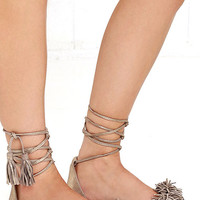 Steve Madden Sweetyy Gold Suede Leather Lace-Up Sandals