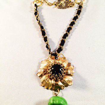 Hand Designed Necklace, Vintage Jewelry Assemblage, Gold, Black, Green, Floral, Easy Toggle Clasp, OOAK