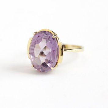 Estate 8k 333 Yellow Gold Rose de France Amethyst Ring - Size 7 3/4 Large 4 + Carat Oval Purple Gemstone February Birthstone Fine Jewelry