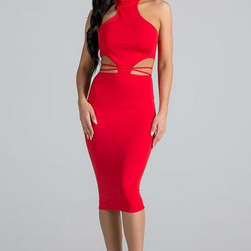 Mock Neck Cut Out Bodycon Dress