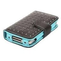 Leegoal Wallet Dot Leather Case for iPhone 4/4S - Black/Blue