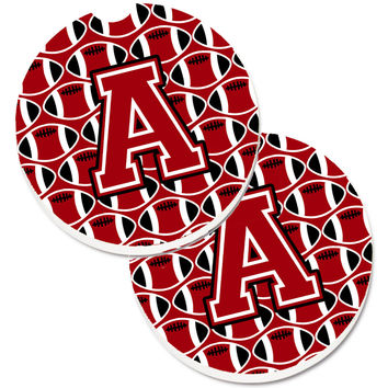 Letter A Football Red, Black and White Set of 2 Cup Holder Car Coasters CJ1073-ACARC