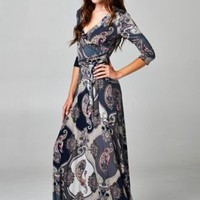 WOMENS LONG SLEEVE BOHEMIAN MAXI DRESS PAISLEY PRINT WRAP DRESS Medium