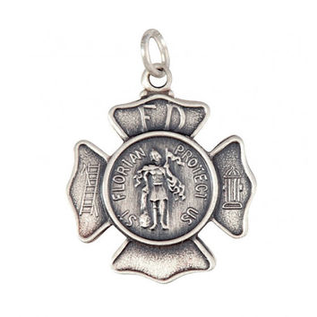 Saint Florian Pendant in Sterling Silver  – Protect Us – Firefighters – Chimney Sweeps – Soap Makers – Brushed Finish – Chain Available
