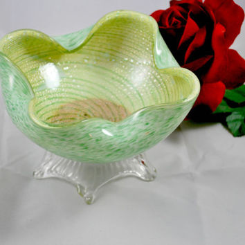 Murano Glass Biomorphic Bowl by Fratelli Toso Opaline and Aventurine Green Seafoam