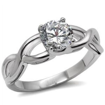 Keeper – FINAL SALE White Round Cut Cubic Zirconia Criss-Cross Style Engagement Ring in Stainless Steel