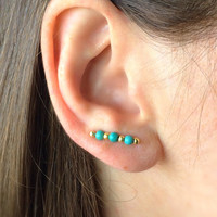 Gold and Turquoise Earrings Boho Earrings Gold Ear Climber Turquoise Ear Cuff Turquoise Earpins Boho Ear Cuffs